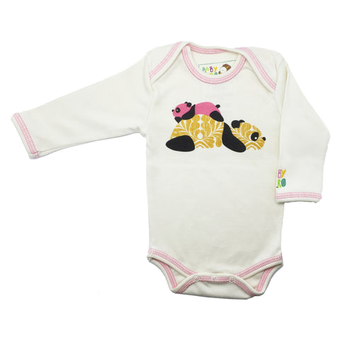 Panda Onesie - Pink - Long-Sleeve, 100% Organic Cotton - Baby Hero - 4