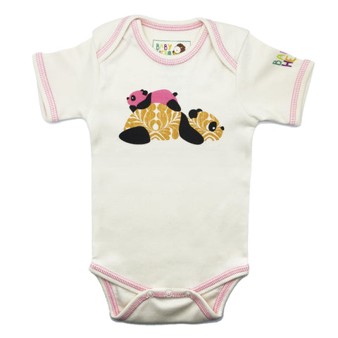 Panda Onesie - Pink - Short-Sleeve, 100% Organic Cotton - Baby Hero - 1