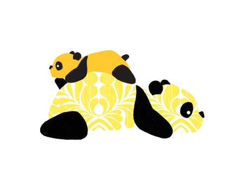 Panda Onesie - Yellow - Long-Sleeve, 100% Organic Cotton - Baby Hero - 4