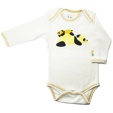 Panda Onesie - Yellow - Long-Sleeve, 100% Organic Cotton - Baby Hero - 3