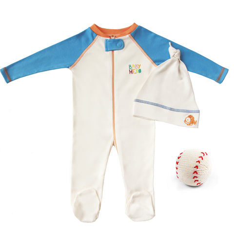 Batter Up Gift Set - Footie/Hat/Toy - Blue, Peach or Turquoise 100% Cotton - Baby Hero - 1
