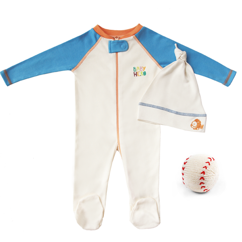 Batter Up Gift Set - Blue - Footie + Hat + Rattle