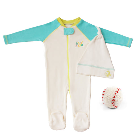 Batter Up Gift Set - Footie/Hat/Toy - Blue, Peach or Turquoise 100% Cotton - Baby Hero - 2
