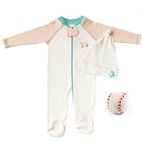 Batter Up Gift Set - Footie/Hat/Toy - Blue, Peach or Turquoise 100% Cotton - Baby Hero - 3