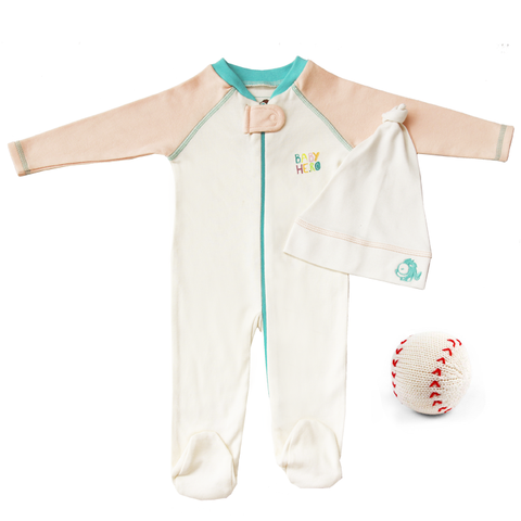 Batter Up Gift Set - Peach - Footie + Hat + Rattle