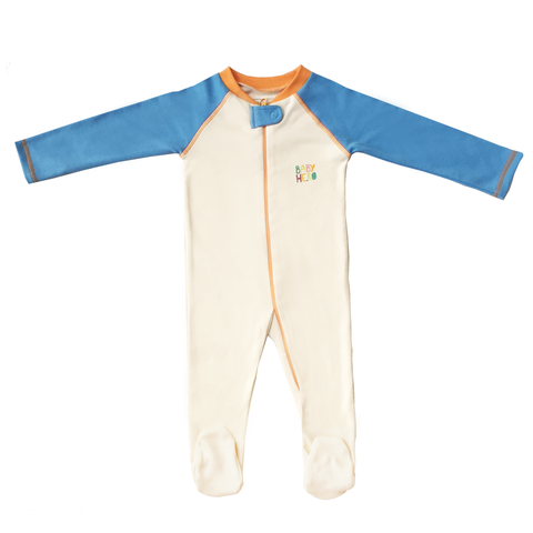 Rimo Footie - Blue, 100% Organic Cotton - Baby Hero - 2