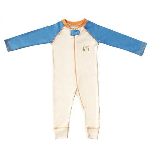 Rimo Footie - Blue, 100% Organic Cotton - Baby Hero - 1