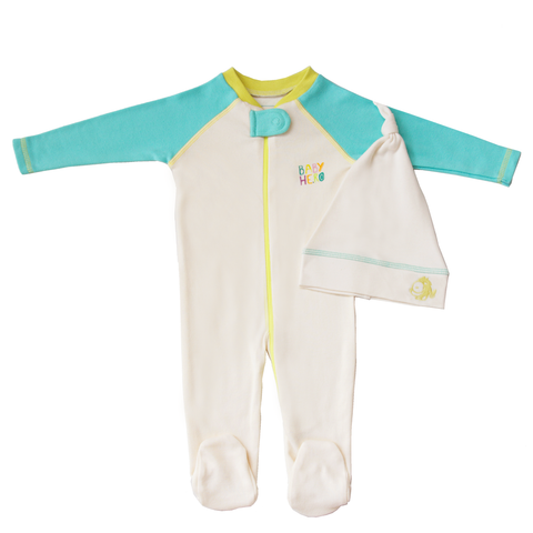 Rimo Footie & Hat Gift Set - Turquoise - 100% Organic Cotton - Baby Hero - 1