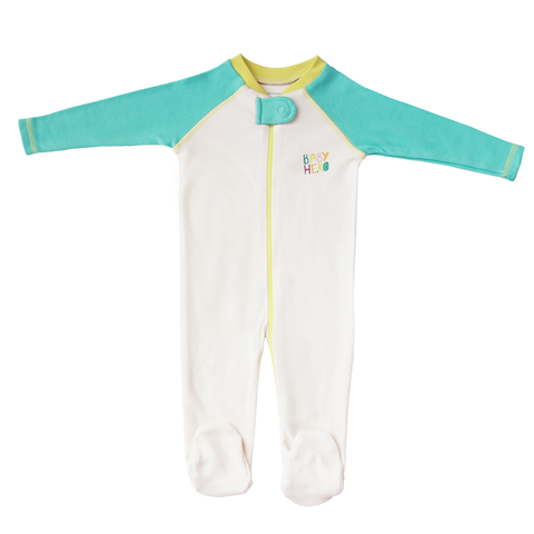 Rimo Footie - Turquoise, 100% Organic Cotton - Baby Hero - 3