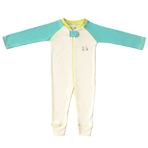 Rimo Footie - Turquoise, 100% Organic Cotton - Baby Hero - 1