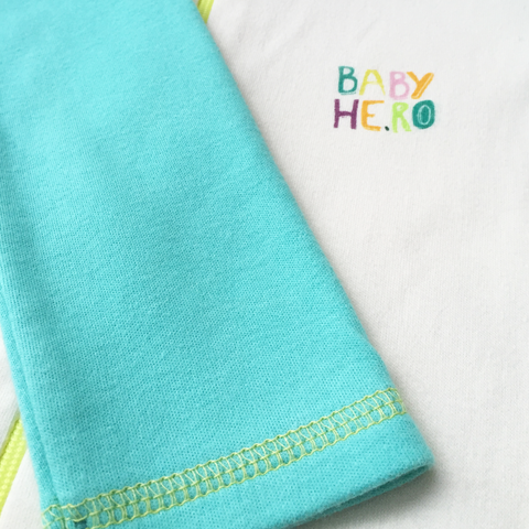 Rimo Footie - Turquoise, 100% Organic Cotton - Baby Hero - 7