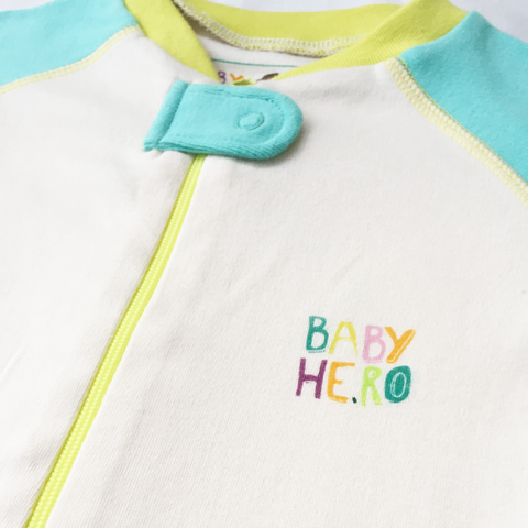 Rimo Footie - Turquoise, 100% Organic Cotton - Baby Hero - 6