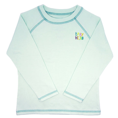 Ravi Tee - Turquoise - Long-Sleeve, 100% Organic Cotton - Baby Hero - 1