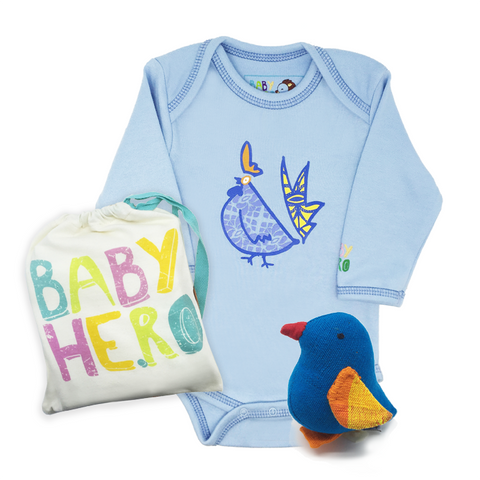 Year of the Rooster Onesie + Chick Gift Set - Blue