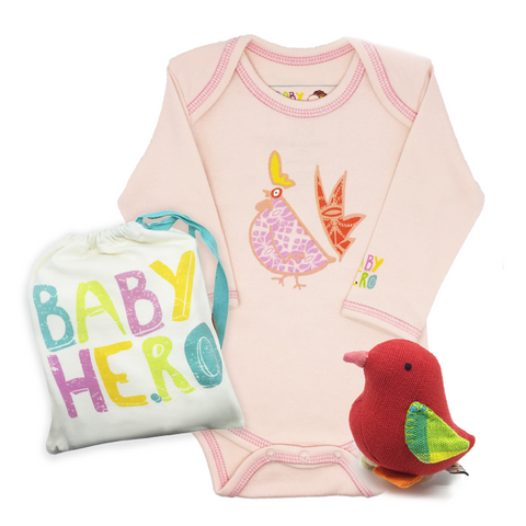 Year of the Rooster Onesie + Chick Toy Gift Set - Pink