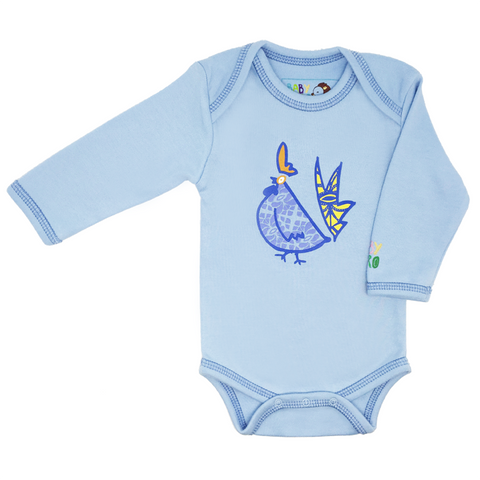 Blue Year of the Rooster Onesie Long-Sleeve - 100% Organic Cotton