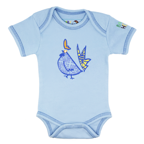 Blue Year of the Rooster Onesie Short-Sleeve - 100% Organic Cotton