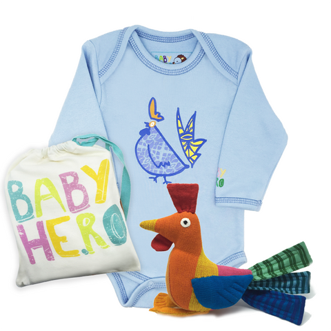 Year of the Rooster Squared Gift Set - Blue - Onesie + Toy