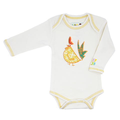 Yellow Year of the Rooster Onesie Long-Sleeve - 100% Organic Cotton