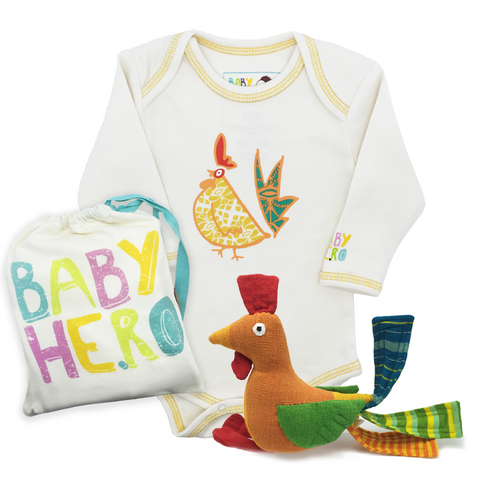 Year of the Rooster Squared Gift Set - Yellow - Onesie + Toy