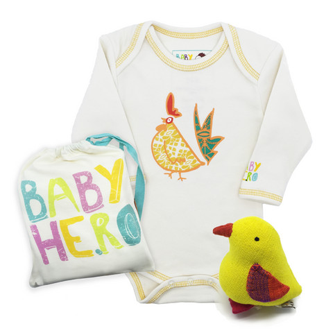 Year of the Rooster Onesie + Chick Toy Gift Set - Yellow