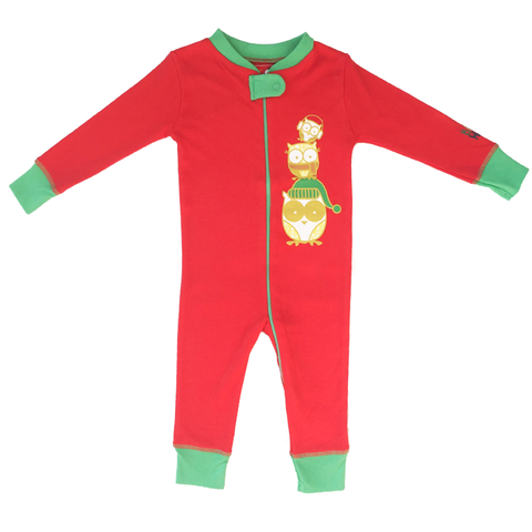 Holiday Owl Footie - Red, 100% Organic Cotton - Baby Hero - 1