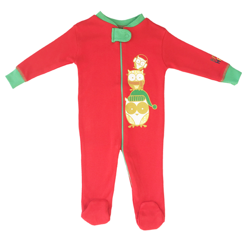 Holiday Owl Footie - Red, 100% Organic Cotton - Baby Hero - 2
