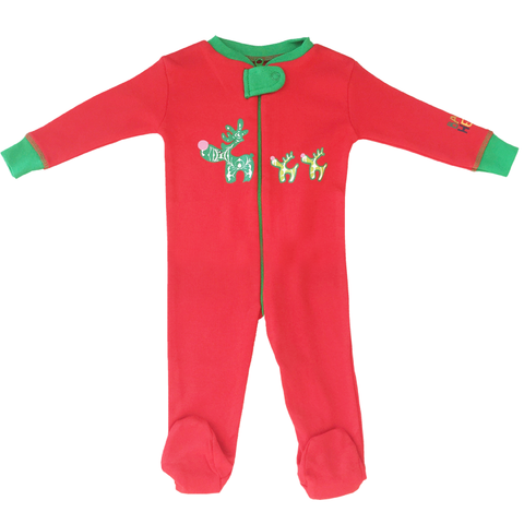 Holiday Reindeer Footie - Red, 100% Organic Cotton - Baby Hero - 2