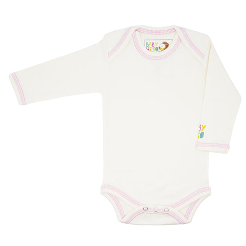 Zhob Onesie - Pink - Long-Sleeve, 100% Organic Cotton - Baby Hero - 1
