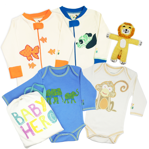 Animals Galore! Gift Set - Boy - Onesies/Footies/Toy - 100% Organic, Fair-Trade - Baby Hero - 1