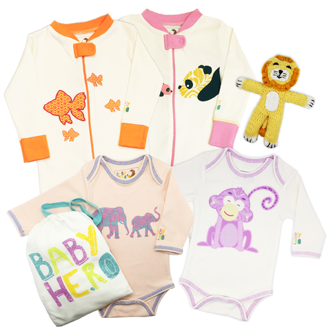 Animals Galore! Gift Set - Girl - Onesies/Footies/Toy - 100% Organic, Fair-Trade - Baby Hero - 1