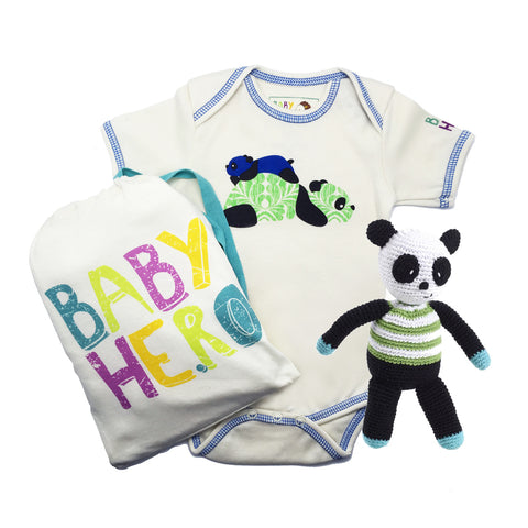Panda Squared Gift Set - Onesie + Toy - Blue/Pink/Yellow