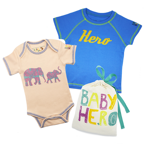Big Sibling & Baby Sibling Gift Set - Toddler Tee, Baby Onesie - 100% Organic Cotton - Baby Hero - 4