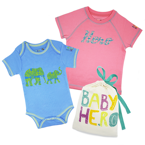 Big Sibling & Baby Sibling Gift Set - Toddler Tee, Baby Onesie - 100% Organic Cotton - Baby Hero - 3
