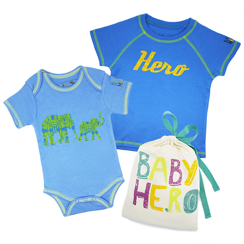Big Sibling & Baby Sibling Gift Set - Toddler Tee, Baby Onesie - 100% Organic Cotton - Baby Hero - 2