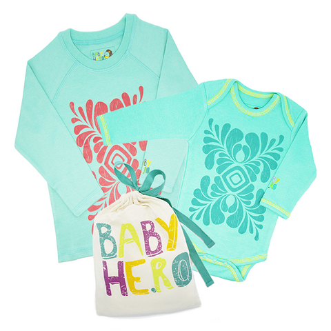 Big Sibling & Baby Sibling Gift Set - Toddler Tee, Baby Onesie - 100% Organic Cotton - Baby Hero - 5