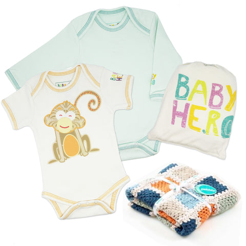100% Organic, Fair-Trade Baby Gift Set - Blanket, Onesie Bundle And Cross Body Bag - Baby Hero - 1