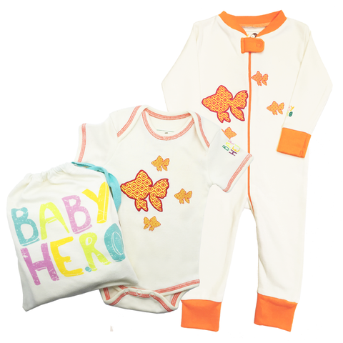 Fish Onesie/Footie Gift Set - 100% Organic Cotton - Baby Hero - 1