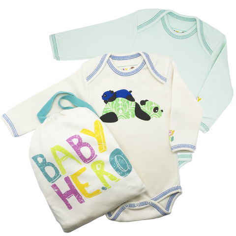 Panda Onesie Bundle Gift Set - 100% Organic Cotton - Baby Hero - 1