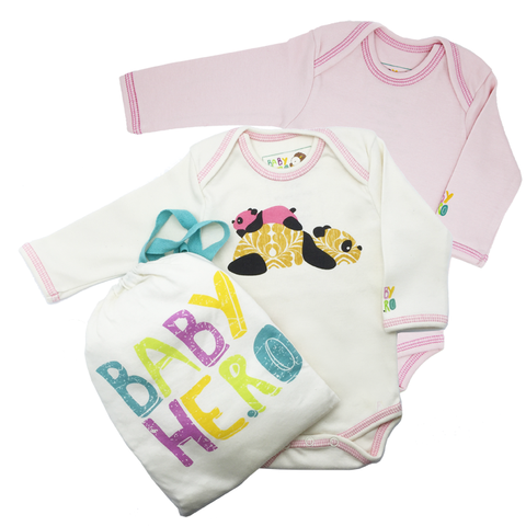 Panda Onesie Bundle Gift Set - 100% Organic Cotton - Baby Hero - 2