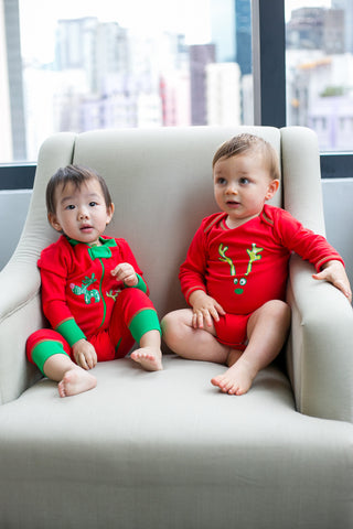 Holiday Reindeer Onesie - Red, 100% Organic Cotton - Baby Hero - 2