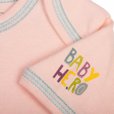 Hathi Onesie - Blue - Short-Sleeve, 100% Organic Cotton - Baby Hero - 6