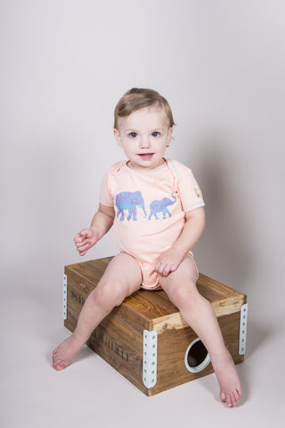 Sweet Safari Onesie/Toy Gift Set - Peach - 100% Organic Cotton, Fair-Trade - Baby Hero - 3
