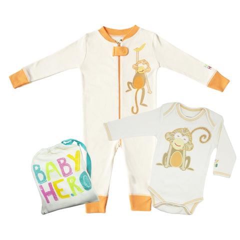 Monkey Onesie + Footie Set - Orange