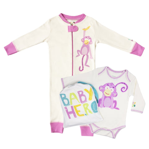 Monkey Onesie + Footie Set - Pink
