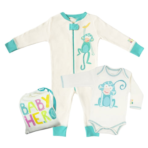 Monkey Onesie + Footie Set - Turquoise