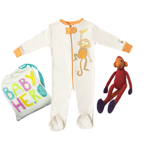 Night Monkey Gift Set - Orange - Footie + Toy