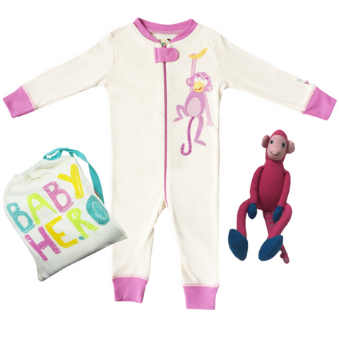 Night Monkey Gift Set - Pink - Footie + Toy