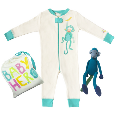 Night Monkey Gift Set - Turquoise - Footie + Toy