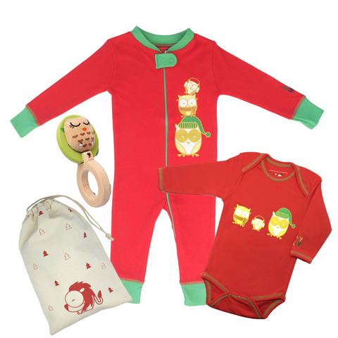 Owl Family Christmas Gift Set - Owl Footie + Owl Onesie + Owl Rattle